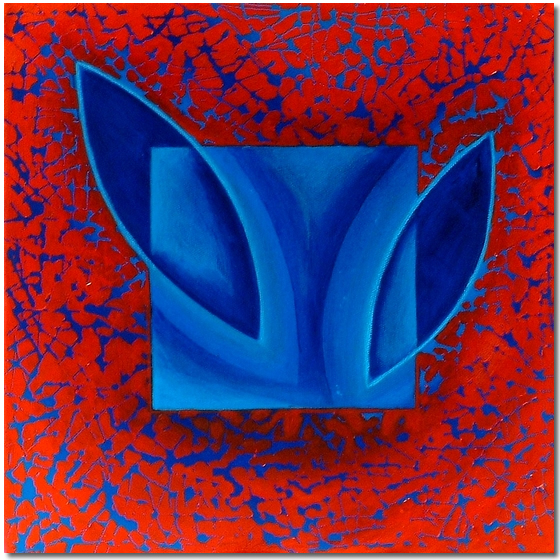 Photo of Abstraction in Red and Blue - abstract painting for sale