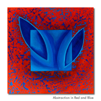Abstraction in Red and Blue - Original painting for sale