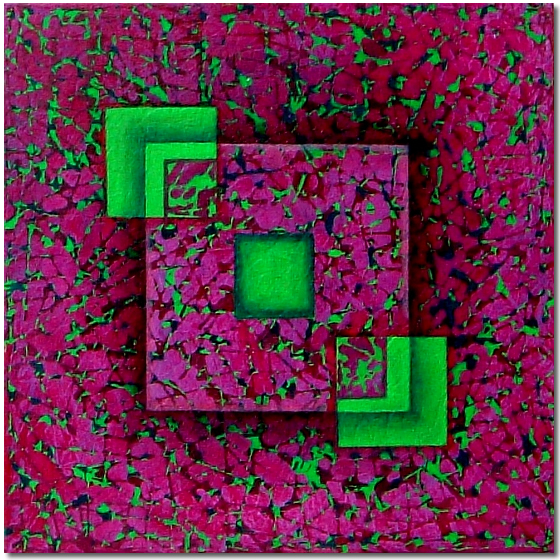 Photo of Green Squares in Pattern, Painting by Elin Bjorsvik - visual artist, London, UK