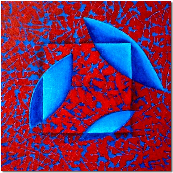 Photo of Red and Blue Layers, Painting by Elin Bjorsvik - visual artist, London, UK
