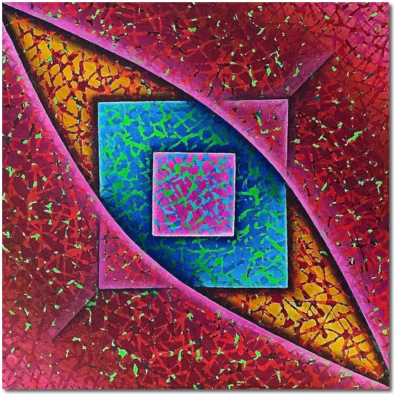 Squares in Blue and Pink - abstract painting for sale