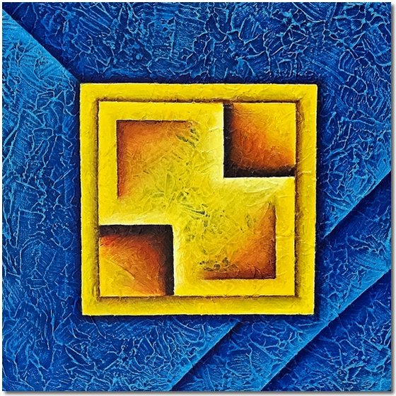 Yellow Square in Texture - abstract painting by Elin Bjorsvik - for sale